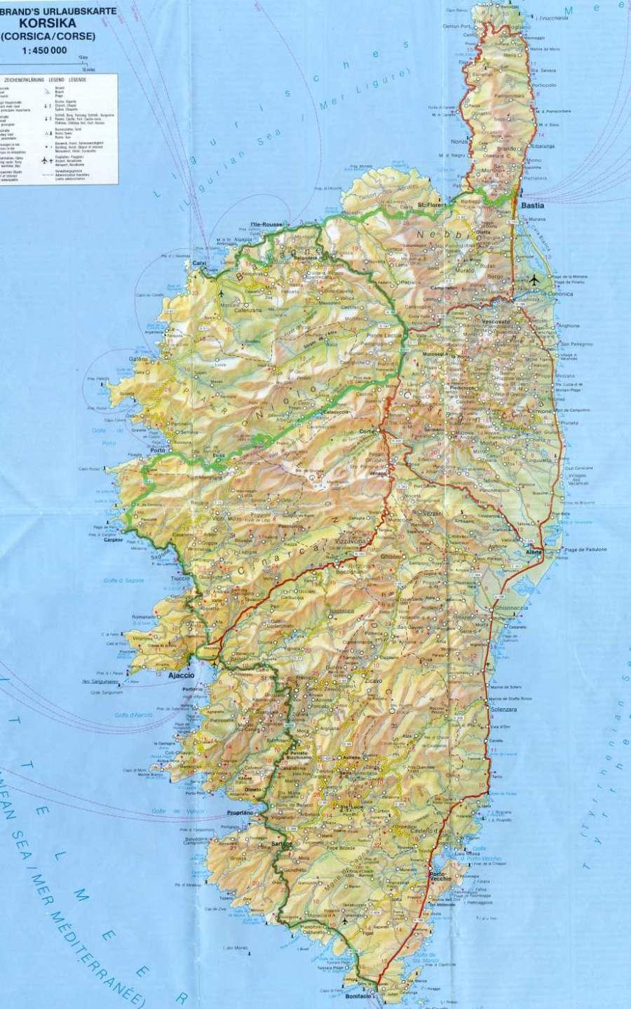 korsika karte Sardinien Korsika Karte Korsika korsika karte